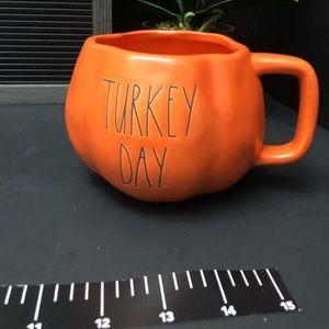 New Rae Dunn TURKEY DAY pumpkin shaped mug